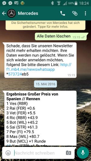 Mercedes nutzt Whatsapp