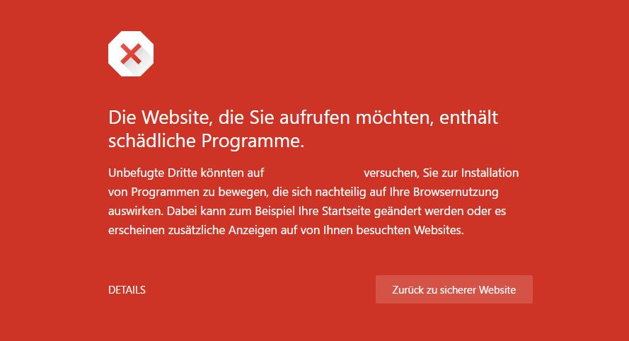 Websitewarnung bei gehackter Seite