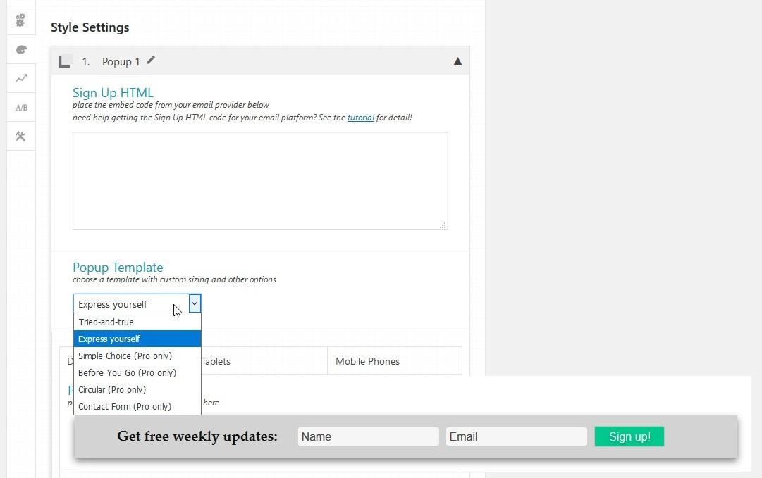 Die 3 besten E-Mail Opt-In Plugins für WordPress - Vorlage auswählen
