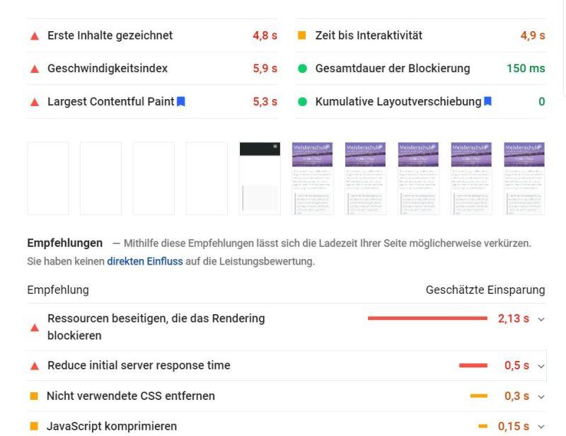 PageSpeed Insights Score für Demo-Seite