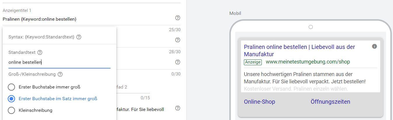 Suchbegriffe aufnehmen, indem man Keyword-Platzhalter verwendet