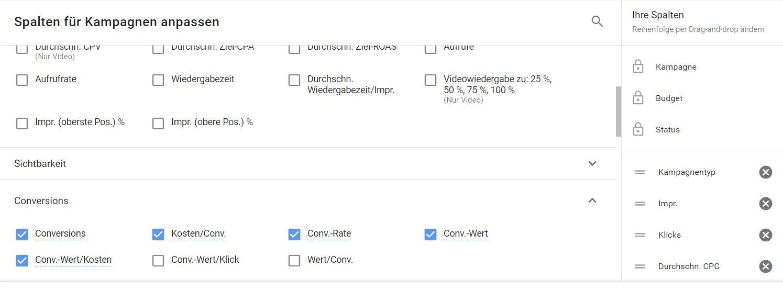 Google Ads hat jede Menge Datenspalten